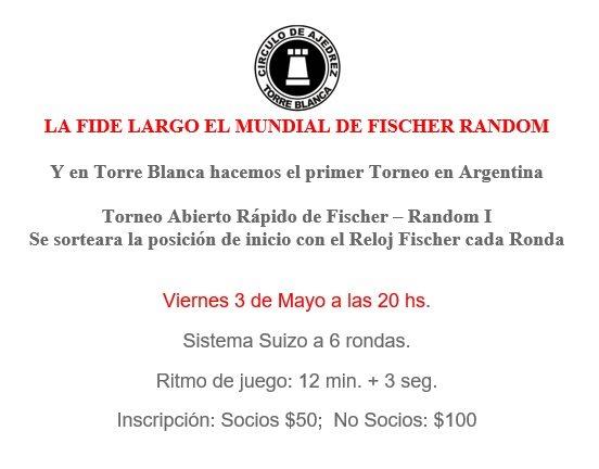 1er torneo de fischeramdom en Argentina
